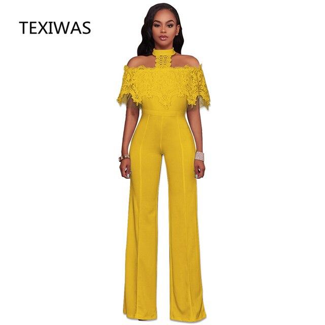 38d63681a746 TEXIWAS New Fashion Wide Leg Jumpsuit Halter Overalls Trousers Outfits Playsuits  Lace Cape Cloak Elegant Off shoulder Rompers