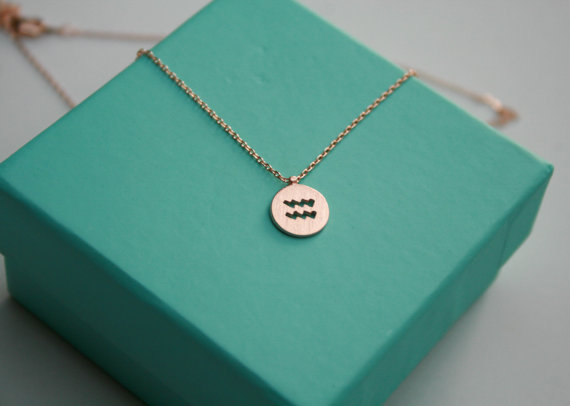 1PCS- Aquarius Necklace Signs 12 Zodiac Constellation Necklace Horoscope Astrology Disc Necklace Galaxy Star Necklaces