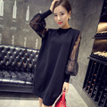 Winter dresses medium-long women lace patchwork sweater basic pullover female loose long-sleeve sweater fashion dress JX308