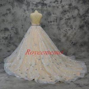 Image 5 - Vestido de Noiva glänzende spitze design hochzeit kleid pailletten spitze brautkleid nach maß fabrik großhandel preis braut kleid