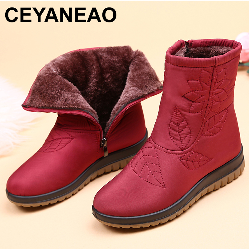 Winter Shoes Insole Ankle-Boots Waterproof High-Quality Women Fur Plus CEYANEAO
