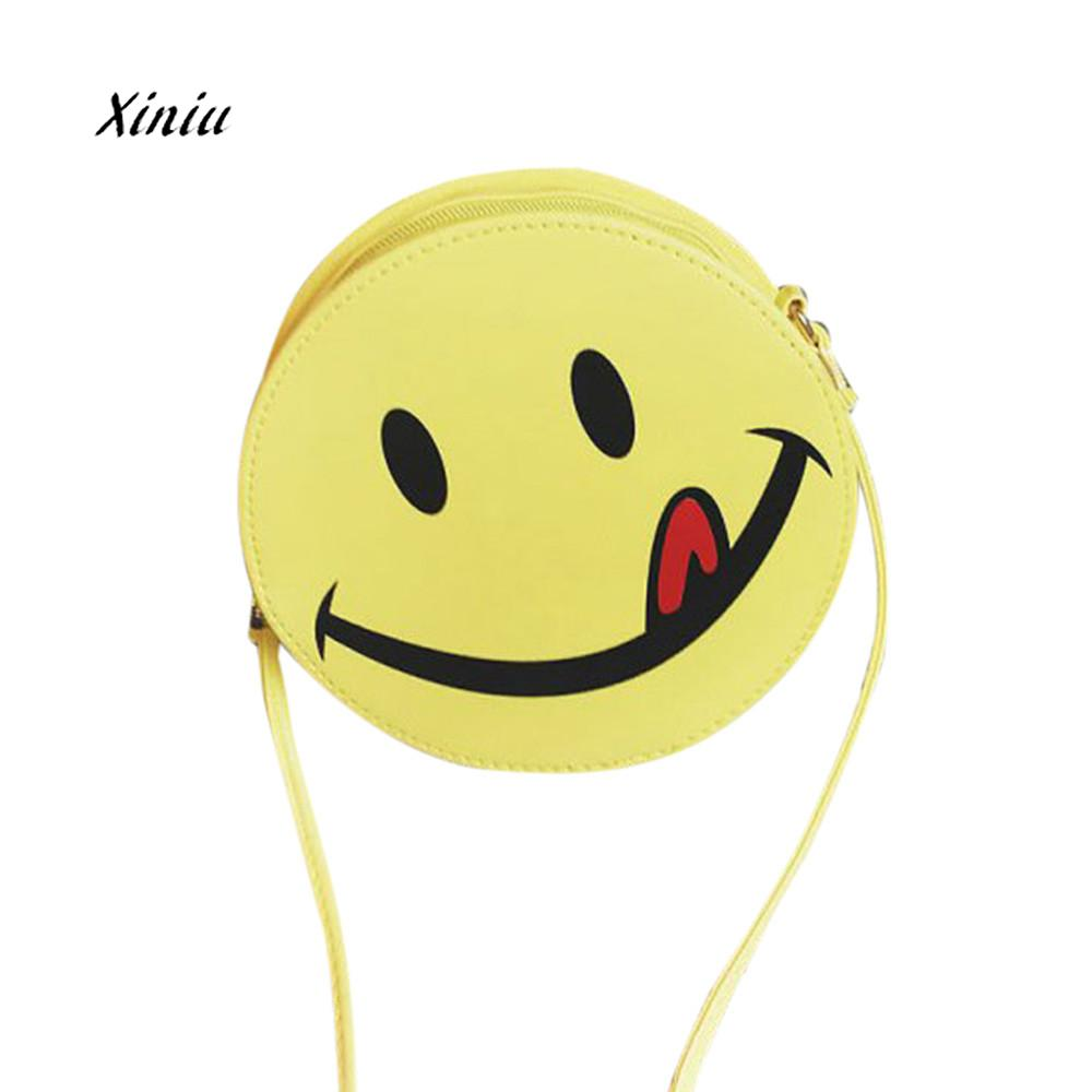 Cute Funny Smiling Face Leather Shoulder Bag Handbag Girls Kid Clutch Messenger Crossbody Bags
