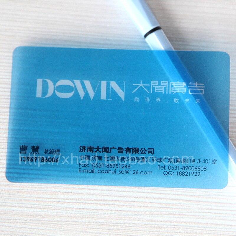 Pvc transparent business card- single face printing-86X54mmX0.38mm