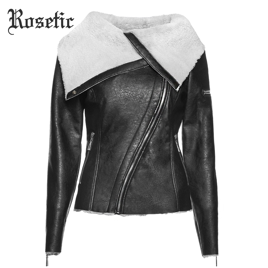 Rosetic Готический теплая куртка плюс Размеры Для женщин Куртки из искусственной кожи Тонкий нагрудные застежки-молнии Обычная Асимметричная ...