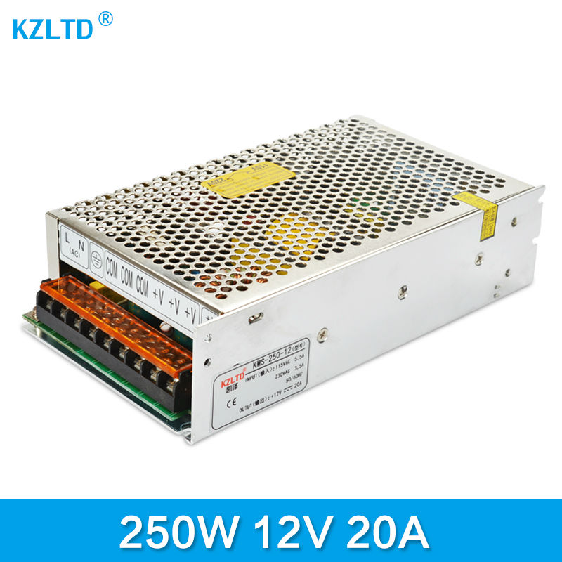 LED SMPS 12V 20A 250W AC-DC LED Converter 110V / 220V to 12V Switching Power Supply for LED Display Monitor CCTV High Quality