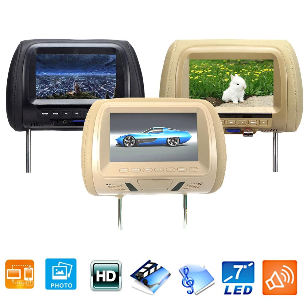 Multifunction Car Headrest Monitor Seat Back LED Screen Digital USB Pillow Monitor Multi Media Camera Video Player with Speaker