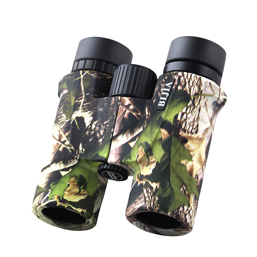BIJIA 8x32 Binoculars Professional Hunting Telescope High Quality Vision No Infrared Eyepiece Maple Leaf Painting shokc hd10x50 professional hunting binoculars high quality optics bak4 telescope 384ft wide angle zoom no infrared eyepiece