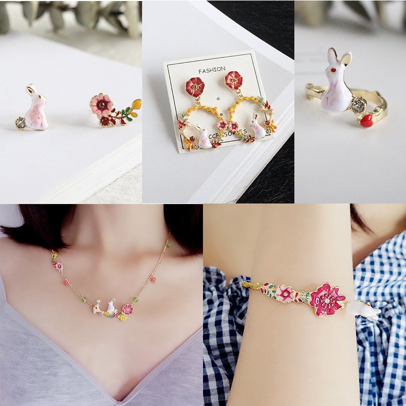 French Fresh Enamel Glaze Copper Alice Rabbit Mushroom Flowers Necklace Bracelet Earrings For Women Jewelry New Arrive-in Jewelry Sets from Jewelry & Accessories on Aliexpress.com | Alibaba Group