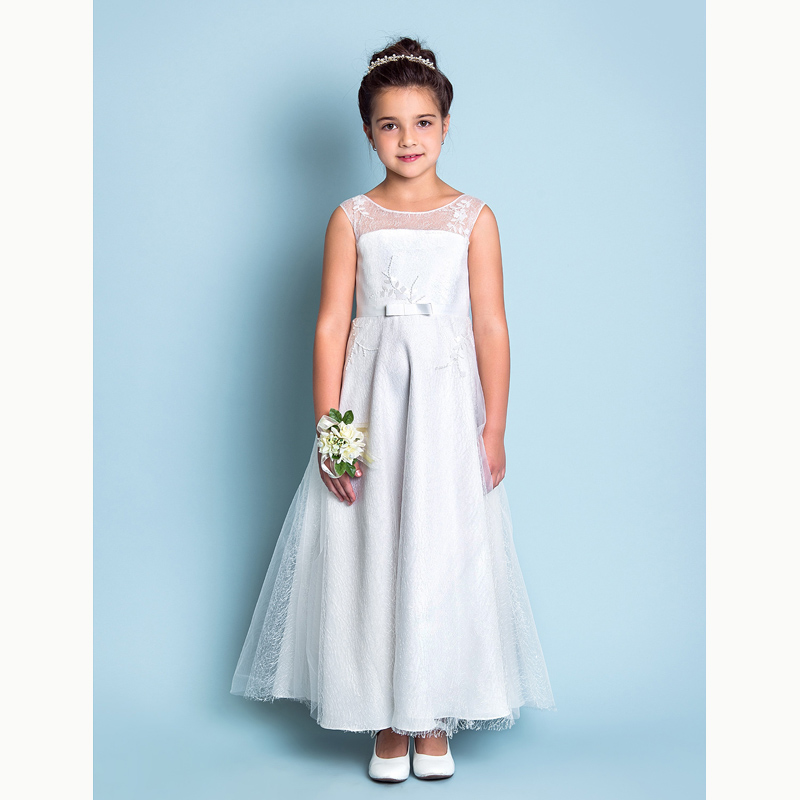 3a7d94200c4 LAN TING BRIDE A-Line Ankle Length Flower Girl Dress - Lace Sleeveless  Jewel Neck with Lace
