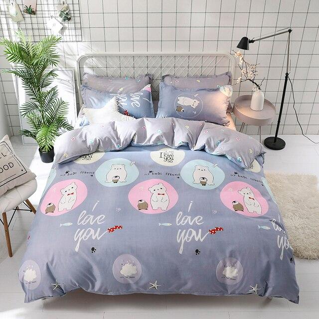 Wonderful Gray Cute Cartoon Polar Bear And Penguin Best Friends Bedding Set Cotton  Bed Linen Adult/