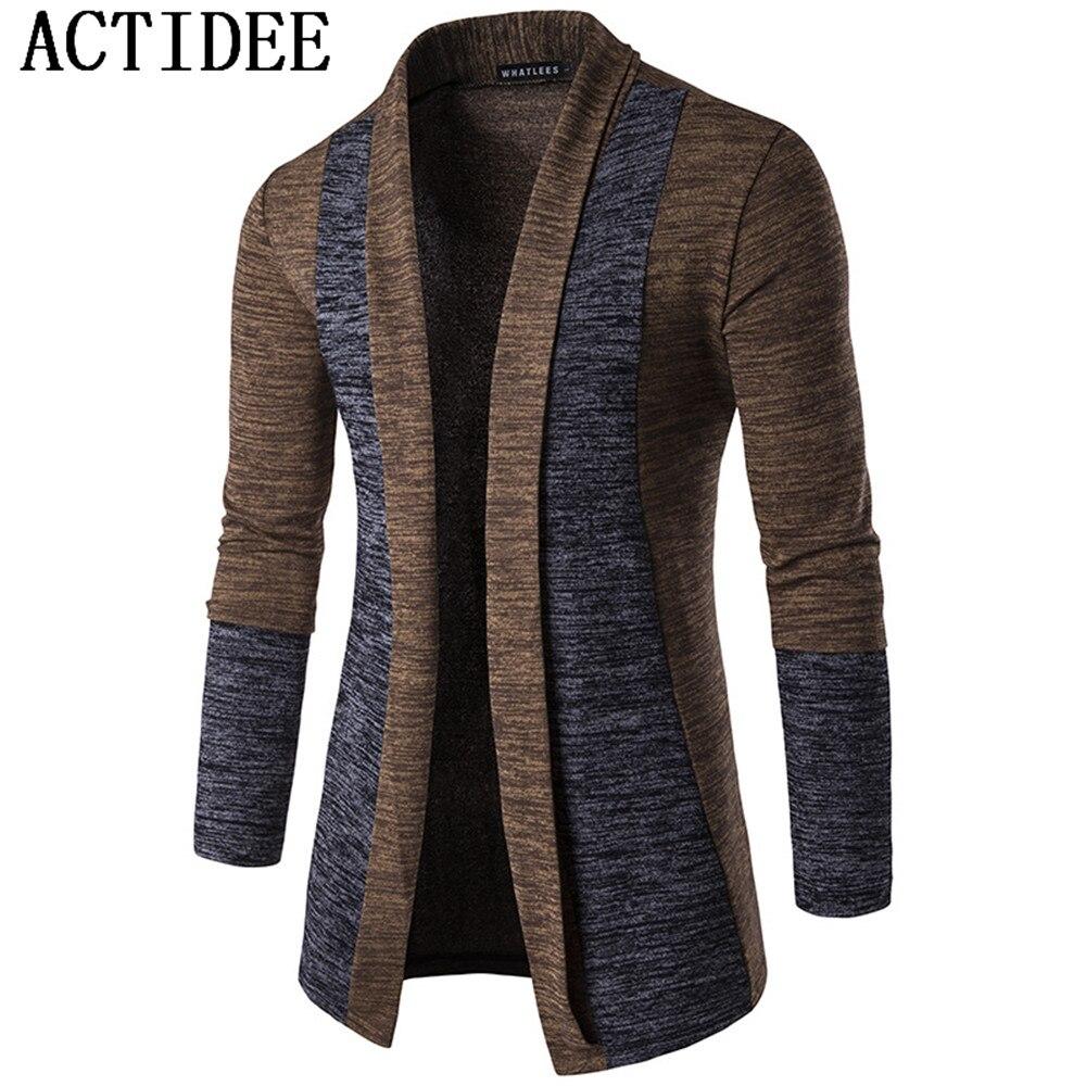US $39.88 5% OFF|Neue Marke ACTIDEE Neue Frühling Herbst Herren Patchwork Mode Baumwolle Strickjacke Mann Pullover Herren Strickwaren Kleidung 5z auf