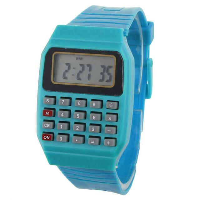 Children Calculator watch live LED Clock Kid Silicone Multi-Purpose Date Time El