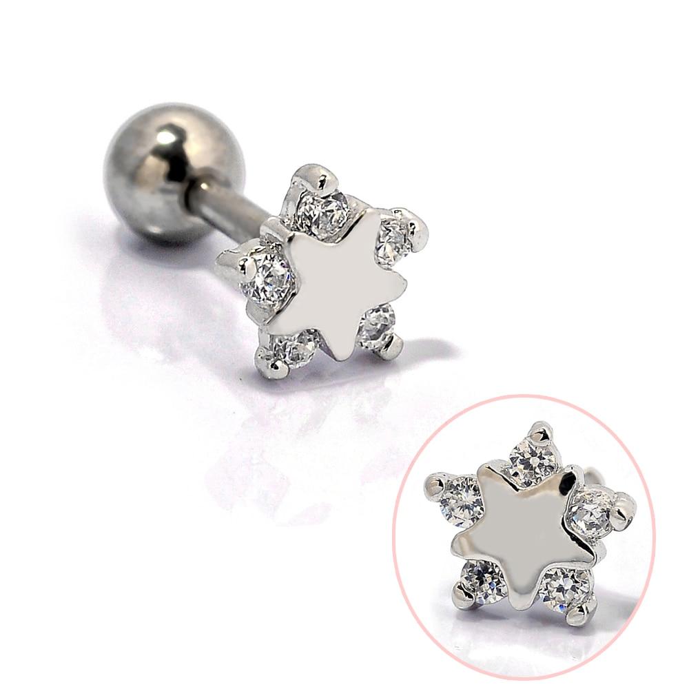 1 Piece 16g Cz Rhinestone Crystal Star 316l Surgical Steel Ear Cartilage  Stud Earrings Pierced Men