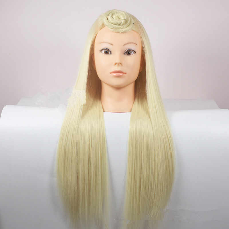 Professional 68cm Blonde Fiber Beautiful Hair Female Mannequin Hairdressing Styling Training Head high quality Mannequin Head