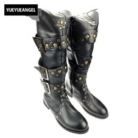 Fashion Mens Over Boots Punk Rock Patent Leather Rivets Shoes Buckle Round Toe For Man Motorcycle