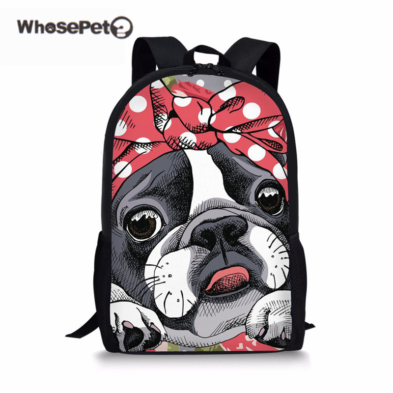 WHOSEPET School Bags For Girls Cute Boston Terrier College Backpack Kids Kawaii Schoolbag Children Book Bagpack Fashion Mochila