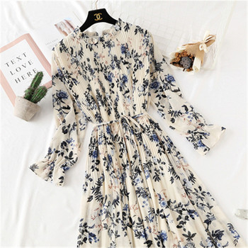 2020 Spring Summer New Hot Women Print Pleated Chiffon Dress  Fashion Female Casual Flare Sleeve Lotus leaf neck Basic Dresses86 1