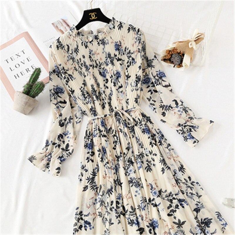 2019 Spring Summer New Hot Women Print Pleated Chiffon Dress  Fashion Female Casual Flare Sleeve Lotus Leaf Neck Basic Dresses86