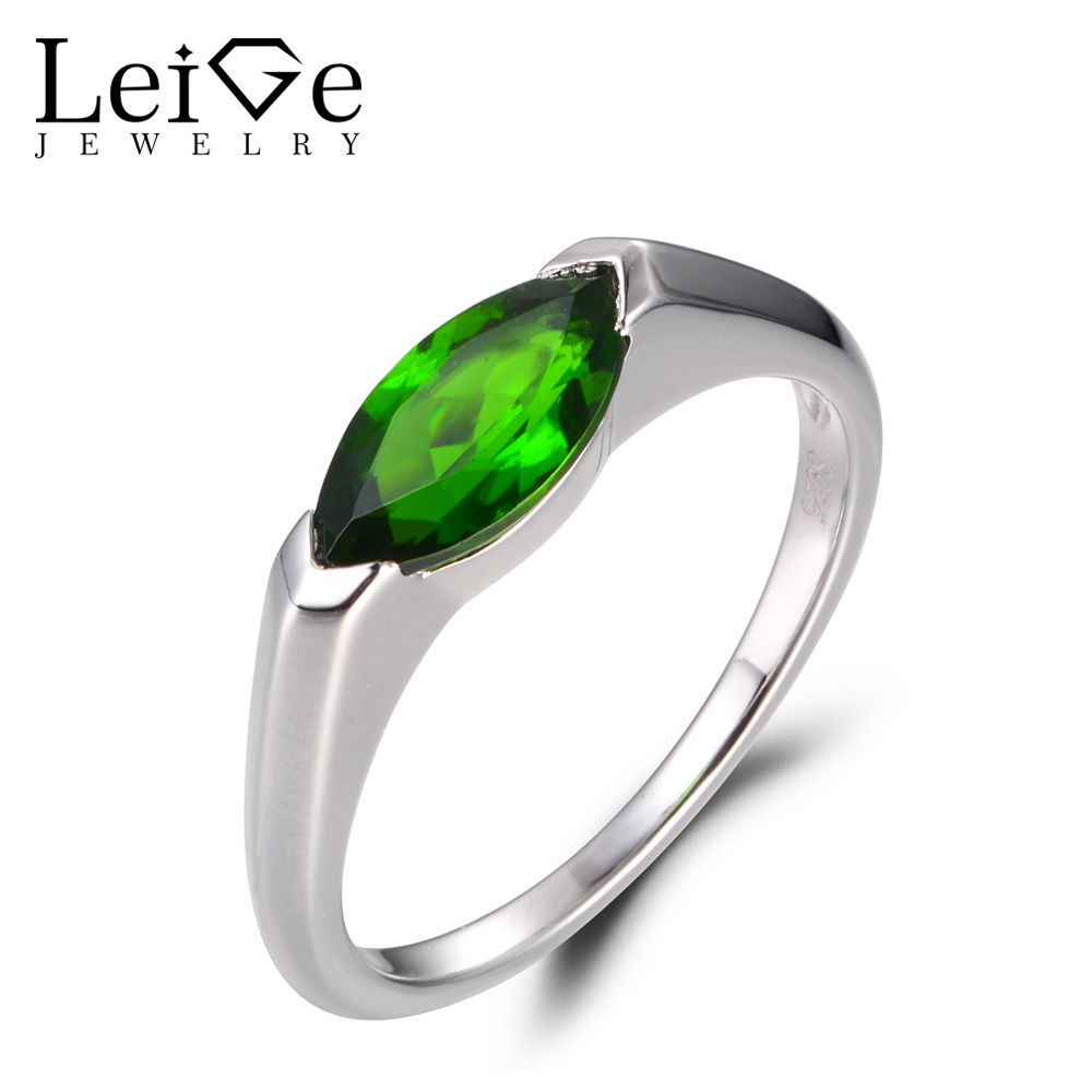 LeiGe Jewelry Natural Chrome Diopside Rings Anniversary Rings Marquise Cut Green Gemstone Solid 925 Sterling Silver Simple Rings