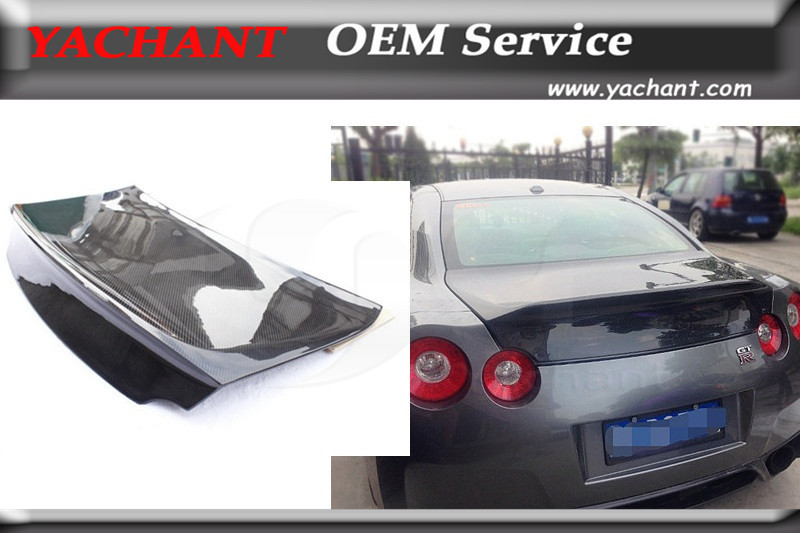 Glossy Finished Carbon Fiber Tailgate Rear Trunk Boot Lid Fit For 2008-2015 R35 GTR GTR35 CBA DBA RZ Style Rear Trunk Bootlid