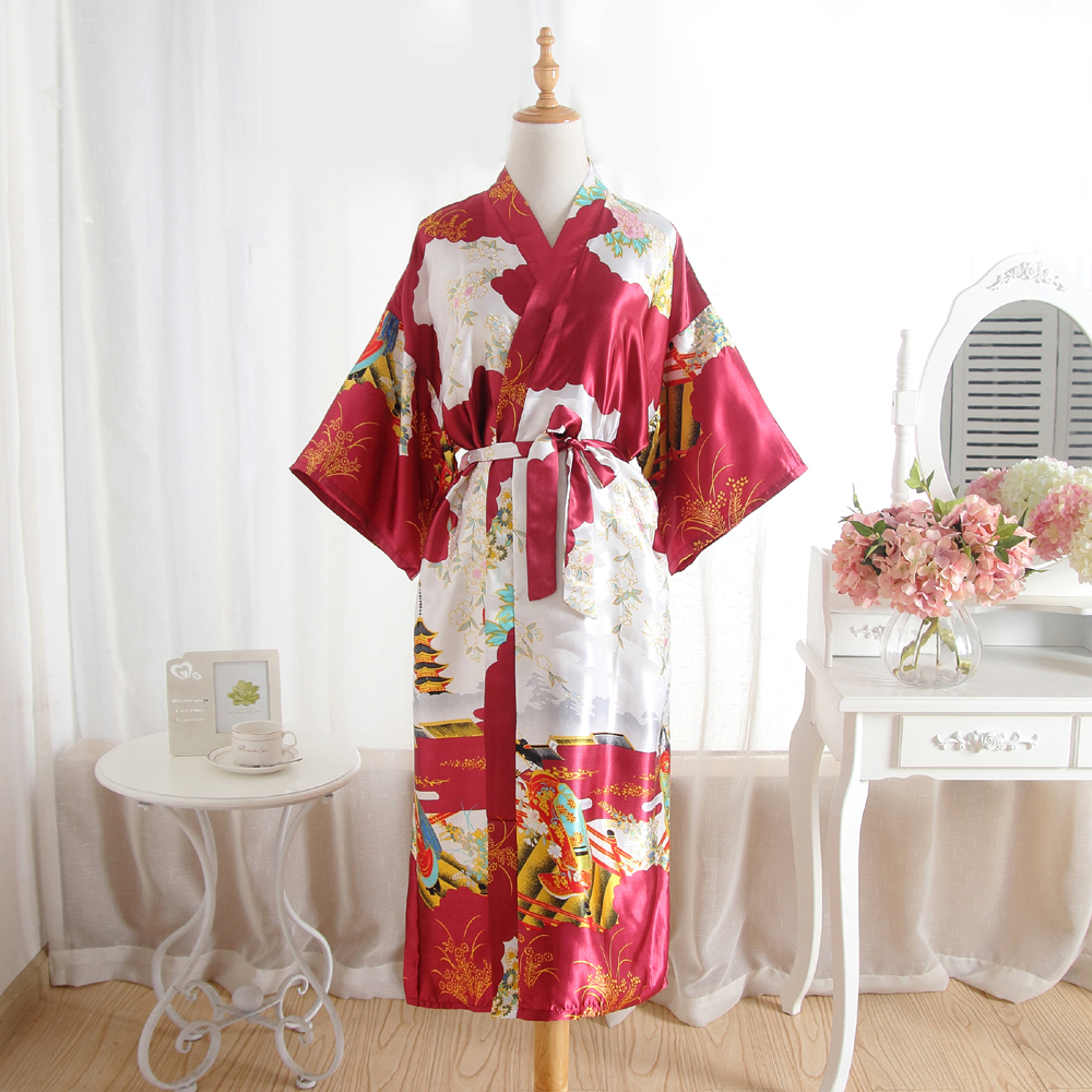 Fashion Womens Summer Kimono Robe Red Lady Rayon Bath Gown Yukata Nightgown Sleepwear Sleepshirts Pijama Mujer One Size Msf005