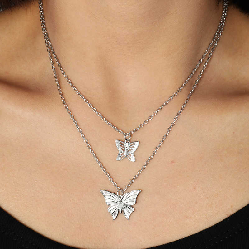 Simple Style Hollow Cute Animal Butterfly Clavicle Chain Jewelry for Women Long Pendants Necklaces 2 Color Charms Bijoux