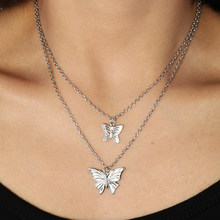 Corrente para clavícula, joia de estilo simples oco bonito de animal e borboleta para mulheres, pingentes longos, 2 cores