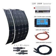 BOGUANG 220V solar panel 200w 12V 12v 20A Controller 1000W Inverter 100 w Solar Panels kit system for home para casa con bateria