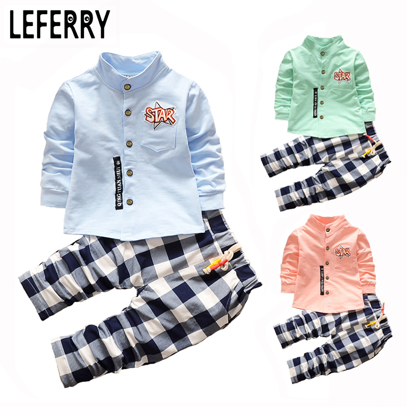 Kids Clothes Boys Clothing set 2pcs Cotton Shirt + Plaid Pants Toddler Boys Clothing Children Suits Baby Boy Clothes Set 2016