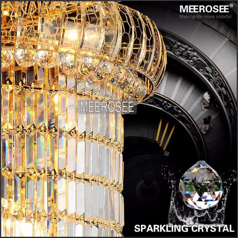 Lang krystal lysekrone Lysarmatur Klassisk gylden krom Hotel Crystal - Indendørs belysning - Foto 4