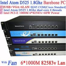 Voll Gigabit multi wan router firewall Barebone mit 6 82583 v RJ45 Intel D525 1,8G unterstützung ROS Mikrotik PFSense Panabit Wayos
