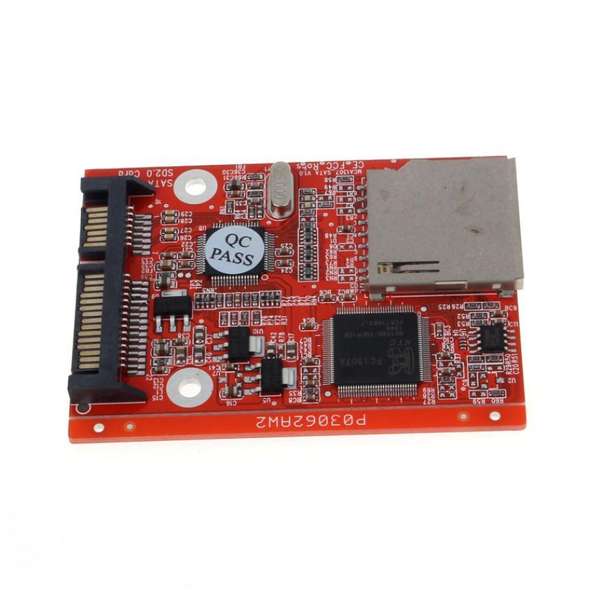 SD SDHC MMC Card To SATA 7+15pin HDD Hard Disk Drive Converter Drop Shipping Futural Digital F35 sd memory card to ide 44 pin hard disk adapter creates a ssd solid state drive