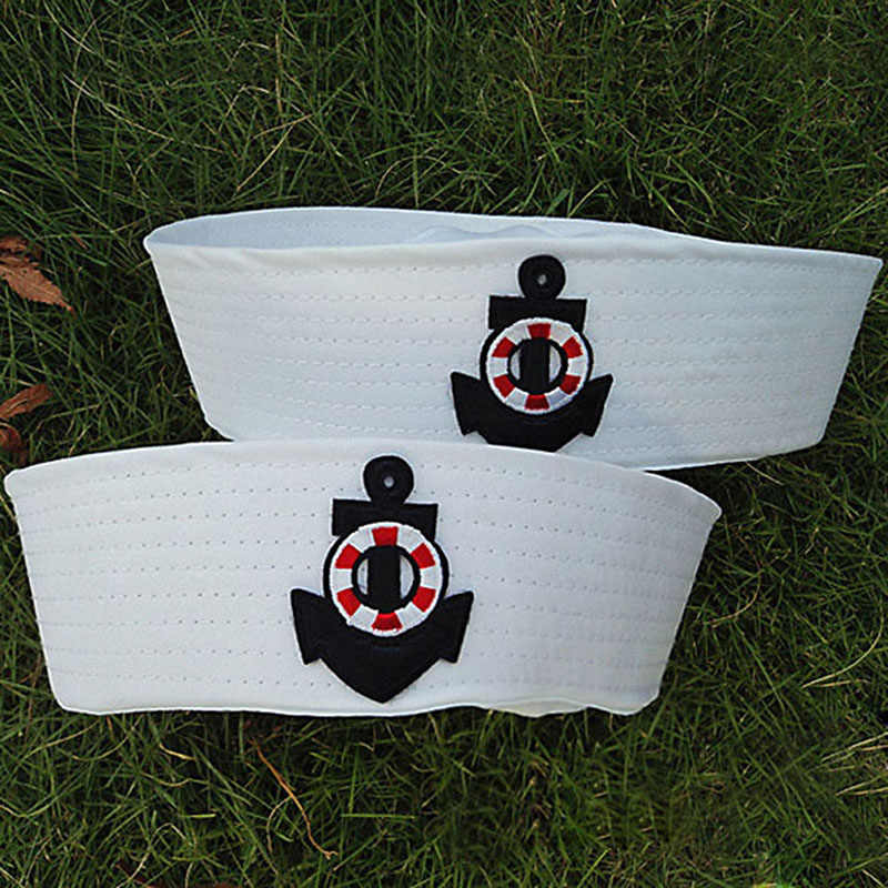 Fancy Dress Party Cosplay Caps costume Props Kids sailor costume White Sailor Navy Hat Cap with Anchor Man Adult Child Hats VL