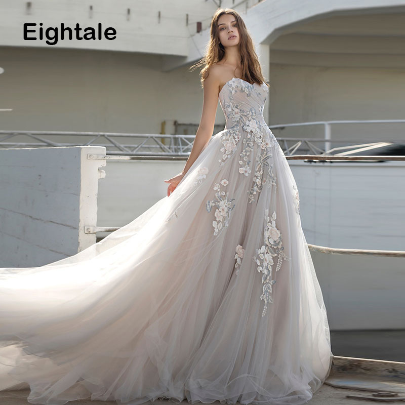 Eightale Wedding Dress 2019 Sweetheart Appliques A-Line Tulle Backless Princess Wedding Gowns Boho Bride Dress vestido de novia