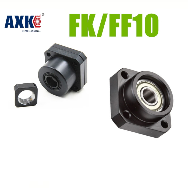 2018 Limited Hot Sale AXK Cnc Router Parts Linear Rail Support Unit Fk/ff10 For Sfu1204,sfk1202 Ballscrew 1pc Fk10+1pc Ff10 ballscrew support unit fixed side fk10 fk10 c5 black