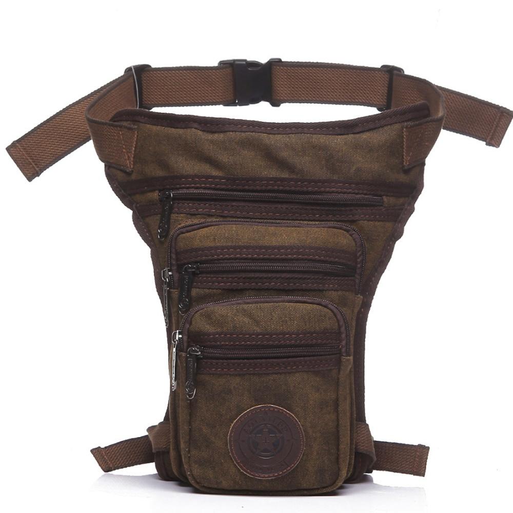 New Men's Canvas Drop Leg Bag Messenger Shoulder Belt Hip Bum Fanny Waist Pack For Travel Trekking Motorcycle Riding
