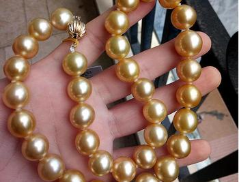 колье с золотой цепью | Великолепный 12-15 мм Южное море Круглый Золото Жемчужное ожерелье 18 дюймов 14 К