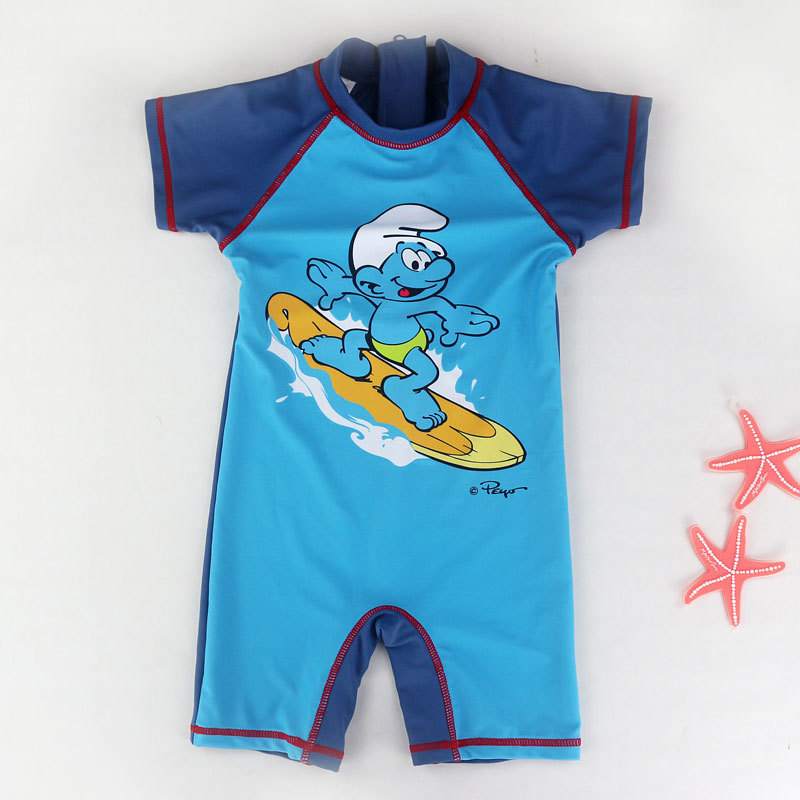 One-Piece Boys Swimwear Surfing Clothing Beach Bathing Suit Short Sleeve Cartoon Sports Swimsuit Baby Boy Children Swimwear Kids
