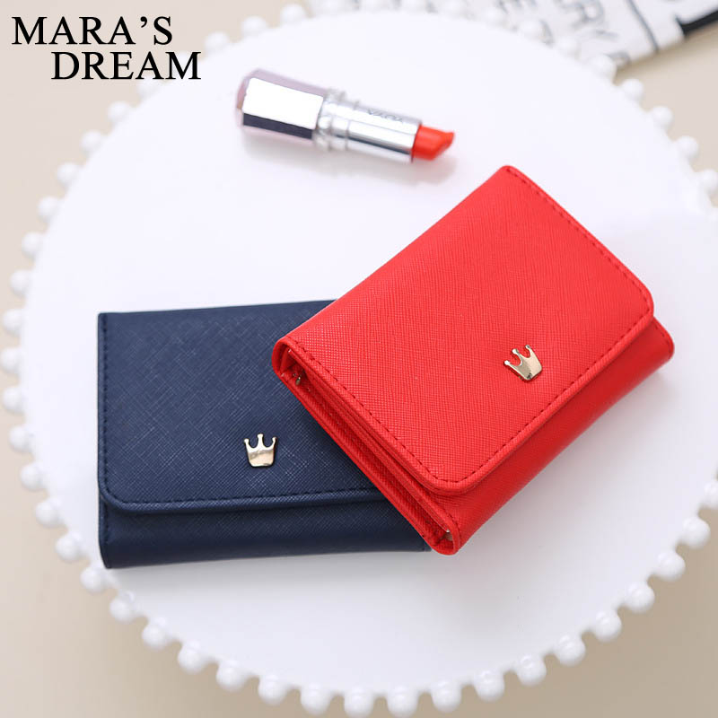 Mara's Dream Wallet Women Lady Short Women Wallets Crown Decorated Mini Money Purses Small Fold PU Female Coin Purse Card Holder