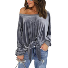 цены Women Long Sleeve Velvet Blouse Casual Off Shoulder Top knotted Loose Bandage Blusas Velour Shirt Plus Size Femme Clothes GV521