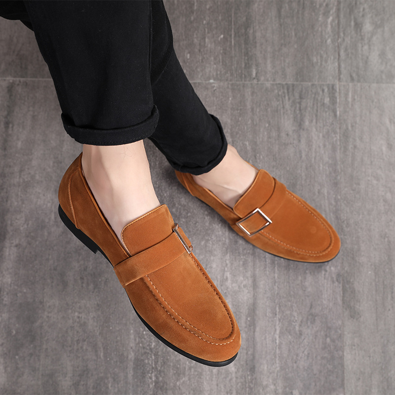 M-anxiu 2018 Fashion Men   suede     Leather   Shoes Mlae Dress wedding Classic Business Party Office Wedding Loafers Men's Flats Shoes