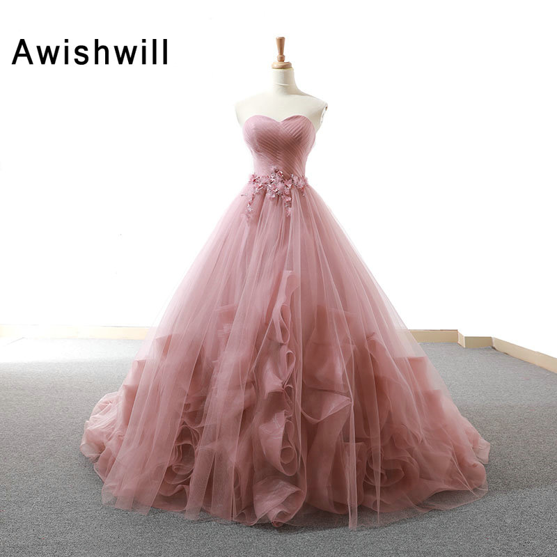 Real Pictures Gorgeous Long Prom Dress Women Ruched Tulle With Beads Elegant Formal Evening Gowns Vestidos de Fiesta Largos