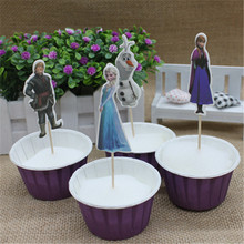 24pcs Cupcake Elsa And Anna Cake Toppers Cartoon Decoration Card Cupcake Inserts Card Birthday For Kids Party Favors