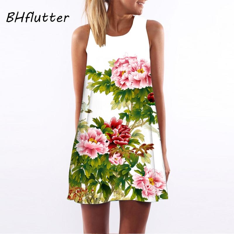 BHflutter Summer Dress Women New 2018 Floral Print Cute Party Dress Sleeveless O Neck Casual Chiffon Dresses Factory Wholesales