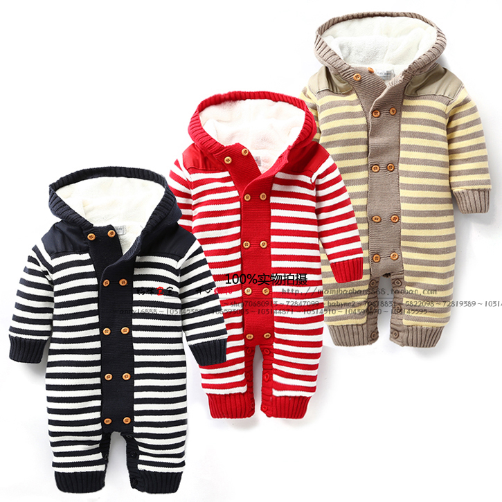 Newborn jumpsuit autumn winter baby romper with thick fleece Romper Knitted Sweater girl boys Christmas Deer Hooded Outwear
