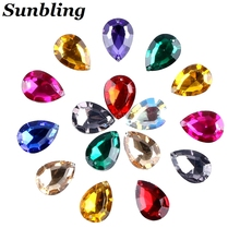Sunbling 50pcs / lot 13 * 18mm Drop Shape Crystal Rhinestone 2 Holes Sliver Fargerike Akryl Smykker For Wedding Clothes Decoration