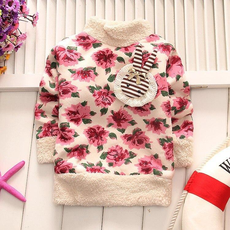 BibiCola baby girls thicker casual autumn velvet cardigan sweaters Children's cartoon kids warm pullover for winter underwear