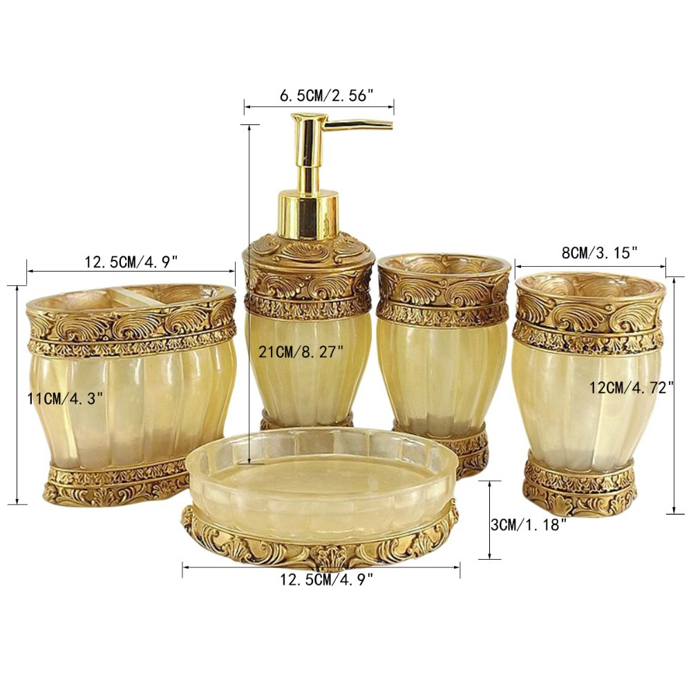 Aliexpress.com : Buy Gold/Blue/Red 19 pcs Bathroom Set Resin ...