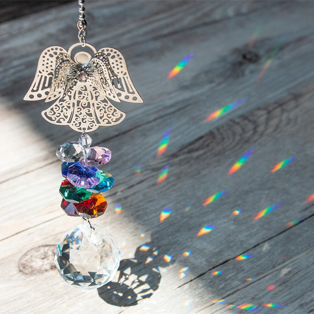 H&D Crystal Guardian Angel Window Sun Catcher Collection Chakra Beads Suncatcher Home Decor Car Charm For Rear View Mirror