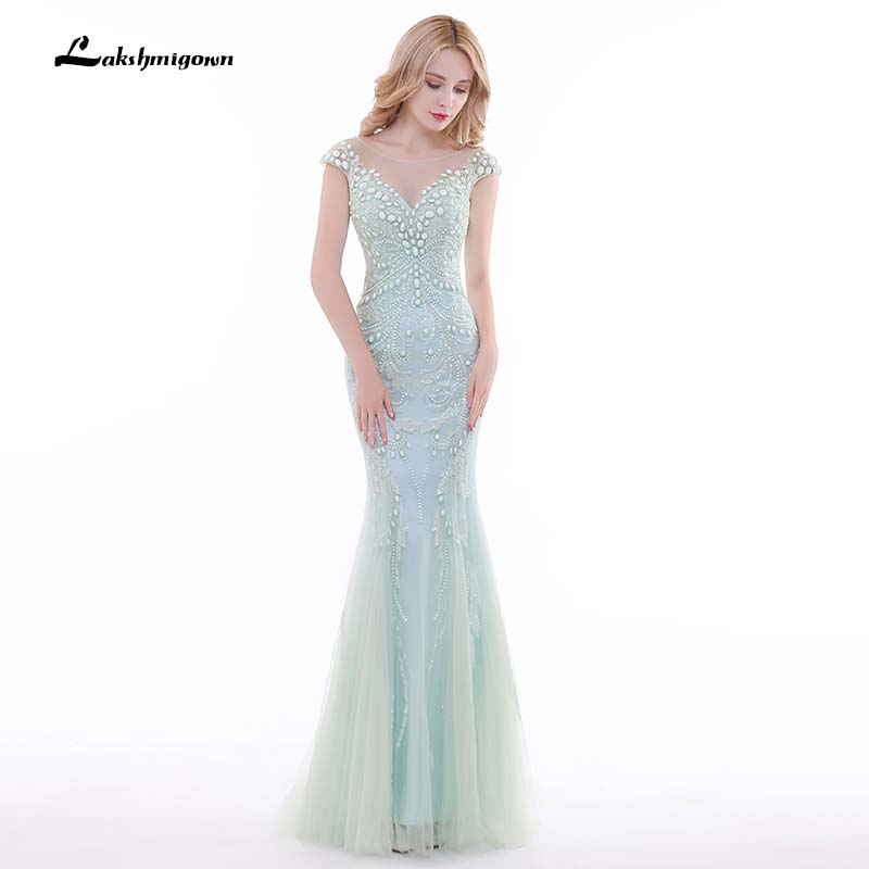 Robe De Soiree Mint Green Mermaid Long Evening font b Dresses b font Cap Sleeve font